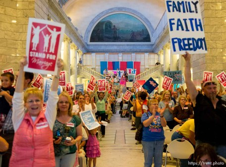 Trent Nelson | The Salt Lake Tribune Traditional marriage supporters filled the Capitol Rotunda during a rally in Salt Lake City, Thursday September 18, 2014.