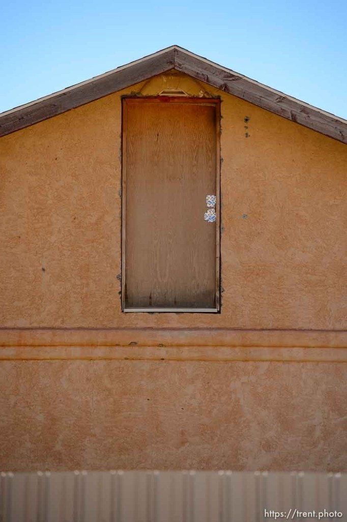 Trent Nelson | The Salt Lake Tribune door on second floor, no landing, in Hildale/Colorado City, Thursday September 25, 2014.