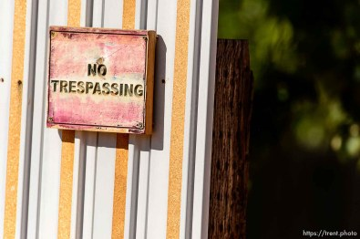 Trent Nelson | The Salt Lake Tribune A sign reading no trespassing on a wall in Hildale, Thursday September 25, 2014.