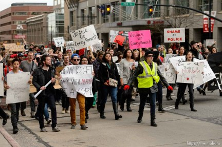 Trent Nelson | The Salt Lake Tribune Protesters march up State Street, halting traffic, as approximately 350 people turned out for a rally to protest police brutality in Salt Lake City, Saturday November 29, 2014.