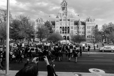 Trent Nelson | The Salt Lake Tribune Protesters march, blocking traffic on State Street as approximately 350 people turned out for a rally to protest police brutality in Salt Lake City, Saturday November 29, 2014.