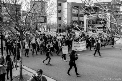 Trent Nelson | The Salt Lake Tribune Protesters march, blocking traffic on 400 South as approximately 350 people turned out for a rally to protest police brutality in Salt Lake City, Saturday November 29, 2014.