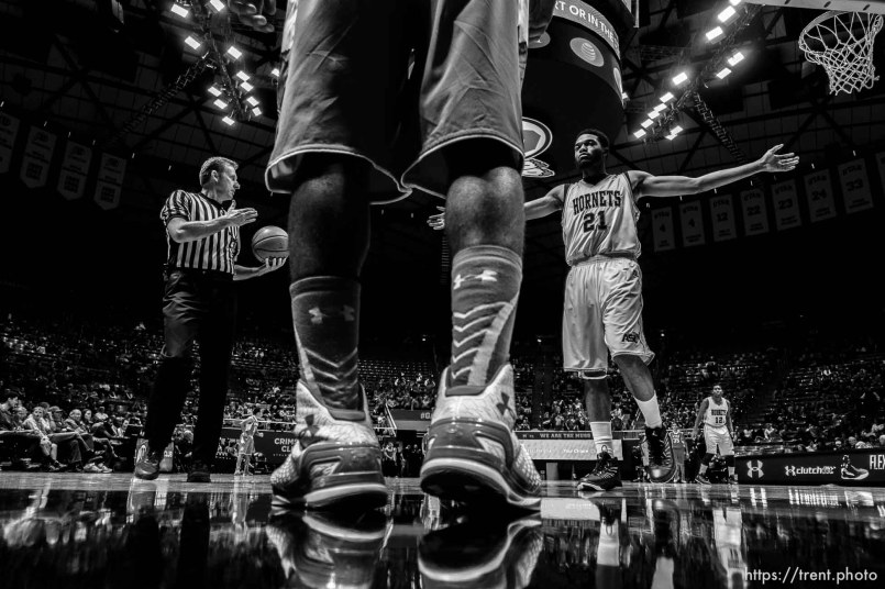 Trent Nelson | The Salt Lake Tribune Alabama State Hornets guard Jamar Pope (21) defending the inbound pass as the University of Utah Utes host the Alabama State Hornets, college basketball at the Huntsman Center in Salt Lake City, Saturday November 29, 2014.