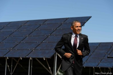 Trent Nelson | The Salt Lake Tribune President Barack Obama prepares to announce a series of solar power initiatives at Hill Air Force Base, Friday April 3, 2015.