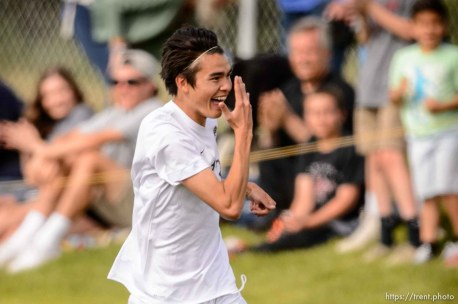 Trent Nelson | The Salt Lake Tribune Skyline's Sheldon Martineau (13) celebrates his goal in a first round Class 4A soccer state game between Wasatch and Skyline High School, in Salt Lake City, Wednesday May 13, 2015.