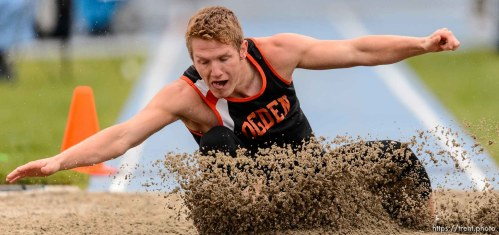 Trent Nelson | The Salt Lake Tribune Ogden's Parker Lowry competes in the 4A long jump at the state high school track meet in Provo, Saturday May 16, 2015.