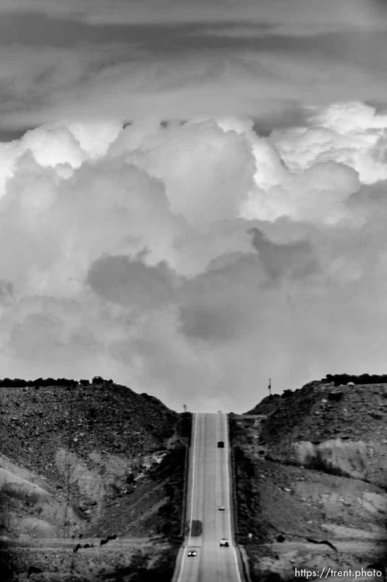 road, clouds. driving from green river to price, Monday May 25, 2015.
