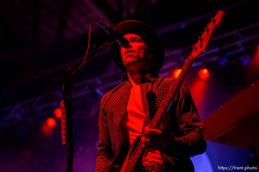 Trent Nelson | The Salt Lake Tribune Josh Smith on bass, as Halestorm performs at Saltair, Wednesday June 3, 2015.