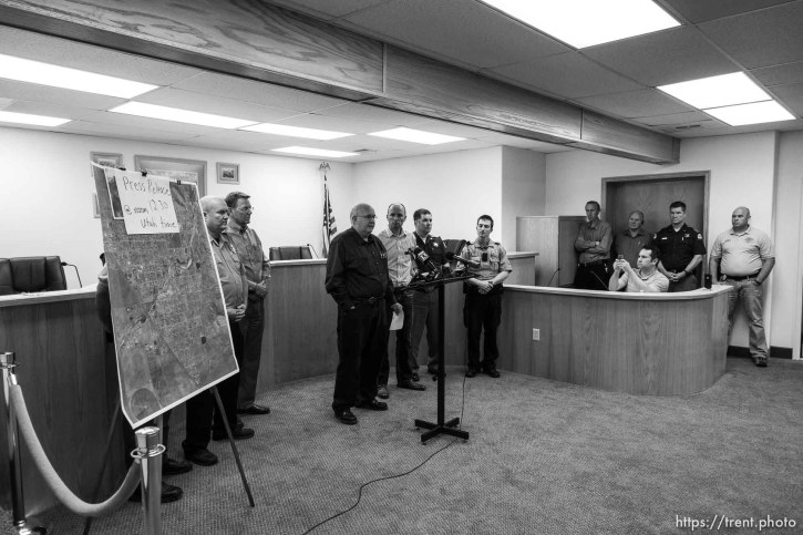 Trent Nelson | The Salt Lake Tribune Hildale Mayor Philip Barlow, Lt. Governor Spencer Cox, flash flood press conference at colorado city hall, Tuesday September 15, 2015. Eight people had died and five remained missing Tuesday morning, the day after an SUV and a van were washed off a road during a flash flood in this polygamous Utah-Arizona border community