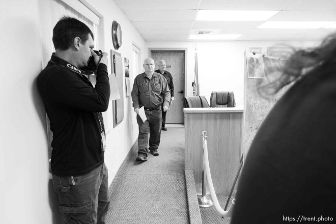 Trent Nelson | The Salt Lake Tribune Hildale Mayor Phillip Barlow speaks at a press conference regarding the continued search after a flash flood. Colorado City, Wednesday September 16, 2015. city manager raymond barlow in front. scott winterton at left