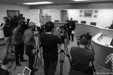 Trent Nelson | The Salt Lake Tribune Hildale Mayor Philip Barlow speaks at a press conference regarding the continued search after a flash flood. Colorado City, Wednesday September 16, 2015.