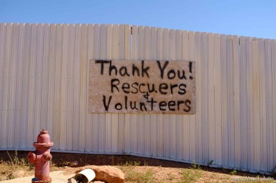 Trent Nelson | The Salt Lake Tribune sign: thank you rescuers and volunteers on wall, Friday September 25, 2015.