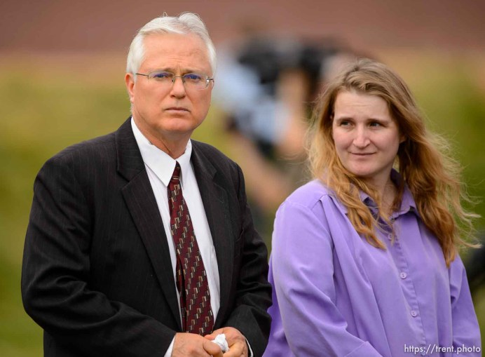 Trent Nelson | The Salt Lake Tribune Polygamist John Daniel Kingston, left, in attendance at a memorial for the 13 (and 1 still missing) victims of a September 14th flash flood. The memorial was held in Maxwell Park in Hildale, Saturday September 26, 2015.