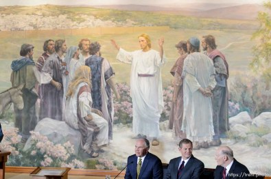 Trent Nelson   The Salt Lake Tribune New LDS apostles, Ronald A. Rasband, Gary E. Stevenson, and Dale G. Renlund, are introduced at a press conference during the 185th Semiannual General Conference of the LDS Church in Salt Lake City, Saturday October 3, 2015.
