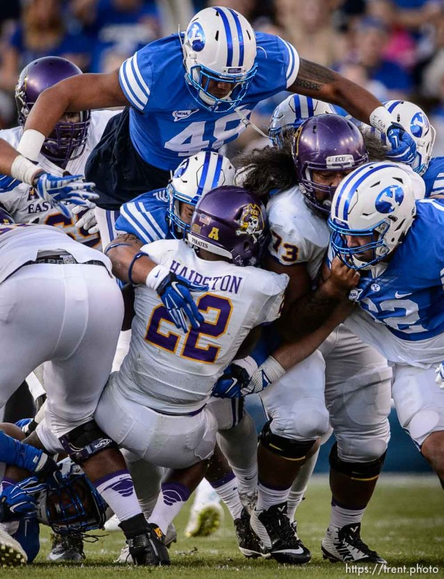 Trent Nelson | The Salt Lake Tribune Brigham Young Cougars defensive lineman Tomasi Laulile (48) comes over the top on a third down stop as BYU hosts East Carolina, college football at LaVell Edwards Stadium in Provo, Saturday October 10, 2015.
