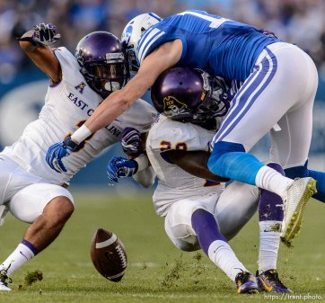 Trent Nelson | The Salt Lake Tribune Brigham Young Cougars wide receiver Mitch Mathews (10), defended by East Carolina Pirates defensive back Travon Simmons (3) and East Carolina Pirates defensive back Josh Hawkins (28) as BYU hosts East Carolina, college football at LaVell Edwards Stadium in Provo, Saturday October 10, 2015.