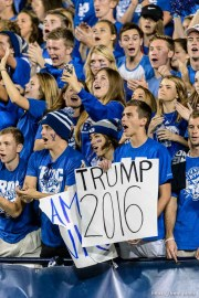 Trent Nelson | The Salt Lake Tribune byu fan with donald trump 2016 sign, as BYU hosts East Carolina, college football at LaVell Edwards Stadium in Provo, Saturday October 10, 2015.