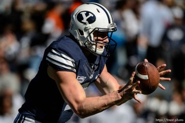 Trent Nelson | The Salt Lake Tribune Brigham Young Cougars quarterback Beau Hoge (7) takes a snap as BYU hosts Wagner, NCAA football at LaVell Edwards Stadium in Provo, Saturday October 24, 2015.