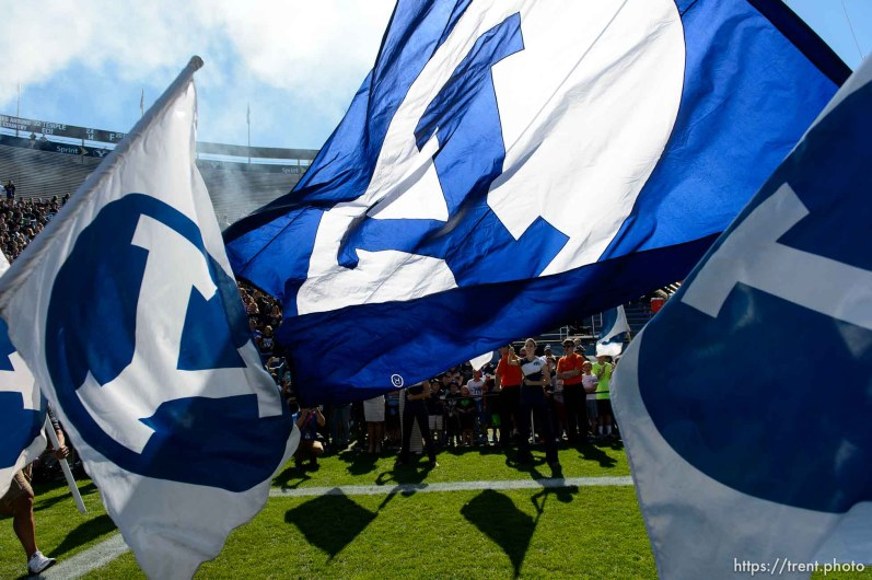 Trent Nelson | The Salt Lake Tribune cougars take field as BYU hosts Wagner, NCAA football at LaVell Edwards Stadium in Provo, Saturday October 24, 2015.