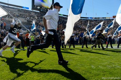 Trent Nelson | The Salt Lake Tribune bronco mendenhall as BYU hosts Wagner, NCAA football at LaVell Edwards Stadium in Provo, Saturday October 24, 2015.