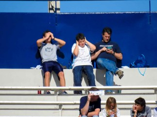 Trent Nelson | The Salt Lake Tribune fans as BYU hosts Wagner, NCAA football at LaVell Edwards Stadium in Provo, Saturday October 24, 2015.