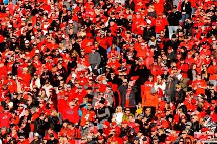 Trent Nelson | The Salt Lake Tribune fans, as the University of Utah hosts UCLA, NCAA football at Rice-Eccles Stadium in Salt Lake City, Saturday November 21, 2015.