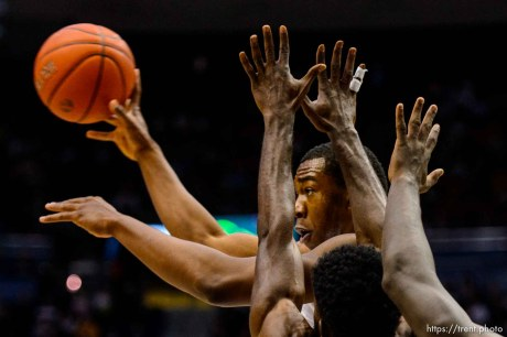 Trent Nelson | The Salt Lake Tribune Brigham Young Cougars forward Jamal Aytes (40) looks for an open teammate as BYU hosts Mississippi Valley State, NCAA basketball at the Marriott Center in Provo, Wednesday November 25, 2015.