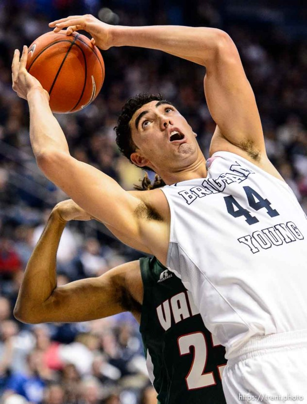 Trent Nelson | The Salt Lake Tribune Brigham Young Cougars center Corbin Kaufusi (44) pulls down a rebound as BYU hosts Mississippi Valley State, NCAA basketball at the Marriott Center in Provo, Wednesday November 25, 2015.