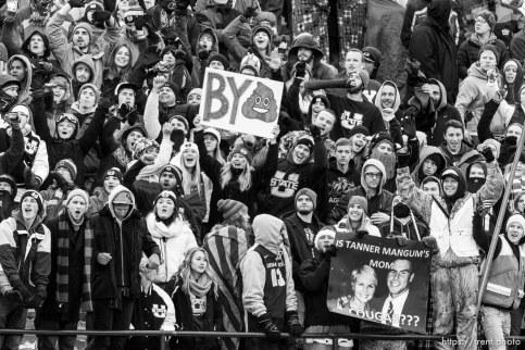 Trent Nelson | The Salt Lake Tribune utah state fans, as Utah State hosts BYU, NCAA football in Logan, Saturday November 28, 2015.