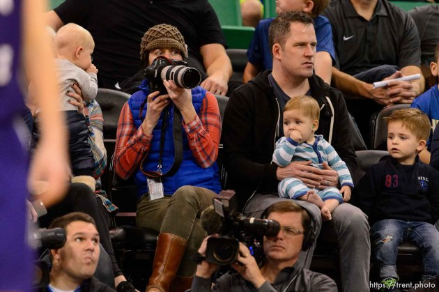 Trent Nelson   The Salt Lake Tribune Kristin Murphy with babies, as BYU faces Weber State, NCAA basketball at Vivant Smart Home Arena in Salt Lake City, Saturday December 5, 2015.