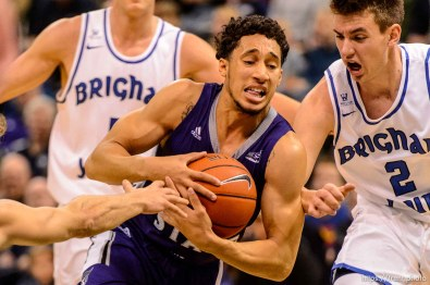 Trent Nelson   The Salt Lake Tribune Weber State's Jeremy Singling drives on BYU's Zac Seljaas, as BYU faces Weber State, NCAA basketball at Vivant Smart Home Arena in Salt Lake City, Saturday December 5, 2015.
