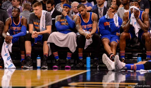 Trent Nelson | The Salt Lake Tribune The Knicks bench, down 26 points in the 4th quarter, as the Utah Jazz host the New York Knicks, NBA basketball at Vivint Smart Home Arena, Wednesday December 9, 2015.