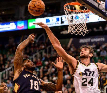 Trent Nelson | The Salt Lake Tribune Utah Jazz center Jeff Withey (24) blocks a shot by New Orleans Pelicans forward Alonzo Gee (15), as the Utah Jazz host the New Orleans Pelicans, NBA basketball in Salt Lake City, Wednesday December 16, 2015.