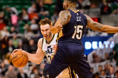 Trent Nelson | The Salt Lake Tribune Utah Jazz forward Gordon Hayward (20) is fouled by New Orleans Pelicans forward Alonzo Gee (15) as the Utah Jazz host the New Orleans Pelicans, NBA basketball in Salt Lake City, Wednesday December 16, 2015.