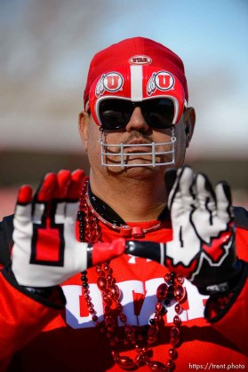 Trent Nelson | The Salt Lake Tribune Utah fan Howard Graham shows his colors before kickoff as Utah faces BYU in the Royal Purple Las Vegas Bowl, NCAA football at Sam Boyd Stadium in Las Vegas, Saturday December 19, 2015.