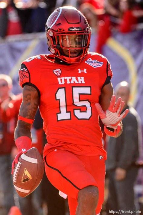 Trent Nelson | The Salt Lake Tribune Utah Utes defensive back Dominique Hatfield (15) runs for a touchdown after an interception as Utah faces BYU in the Royal Purple Las Vegas Bowl, NCAA football at Sam Boyd Stadium in Las Vegas, Saturday December 19, 2015.