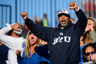 Trent Nelson | The Salt Lake Tribune BYU fans protest a call, as Utah leads 35-0, as Utah faces BYU in the Royal Purple Las Vegas Bowl, NCAA football at Sam Boyd Stadium in Las Vegas, Saturday December 19, 2015.
