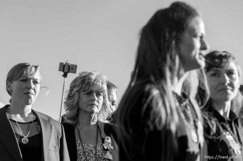 "Trent Nelson | The Salt Lake Tribune Thara Tenney and Belle Collier, daughters of Robert ""LaVoy"" Finicum, speak following his funeral in Kanab, Friday February 5, 2016. At center rear is Finicum's widow, Jeanette Finicum. Finicum was shot and killed by police during a January 26 traffic stop. Finicum was part of the armed occupation of an Oregon wildlife refuge."