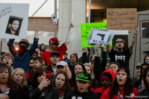 Trent Nelson | The Salt Lake Tribune Protesters will gather at the Wallace Bennett Federal Building and march to the Public Safety Building to protest the police shooting of 17-year-old Abdi Mohamed on Saturday night, Monday February 29, 2016.