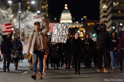 Trent Nelson | The Salt Lake Tribune Protesters march to the Public Safety Building to protest the police shooting of 17-year-old Abdi Mohamed on Saturday night, Monday February 29, 2016.