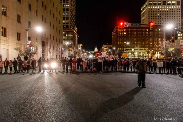 Trent Nelson | The Salt Lake Tribune Protesters occupy the intersection of 100 South State Street to protest the police shooting of 17-year-old Abdi Mohamed on Saturday night, Monday February 29, 2016.