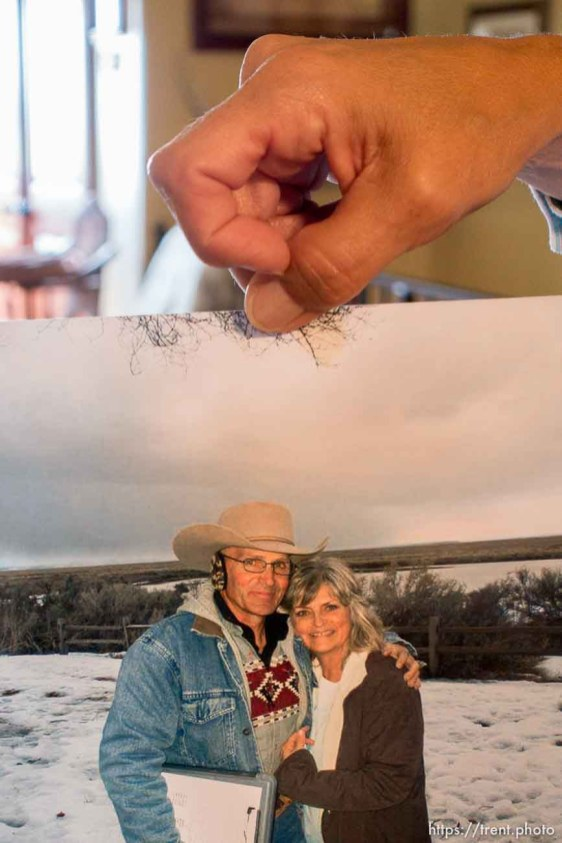 Trent Nelson | The Salt Lake Tribune Jeanette Finicum's favorite photo of her and her late husband LaVoy Finicum, Cane Beds, Saturday May 21, 2016.