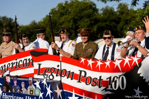 Trent Nelson | The Salt Lake Tribune Veterans from American Legion Post 100 in the Freedom Parade in Hurricane, Monday July 4, 2016.