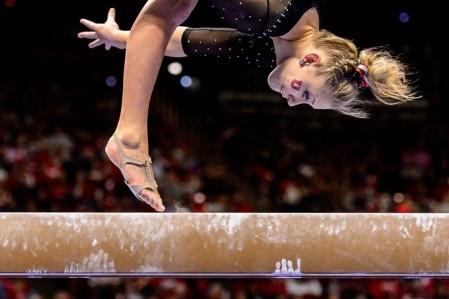 Trent Nelson | The Salt Lake Tribune Utah's MaKenna Merrell on the beam as the University of Utah hosts Cal, NCAA Gymnastics at the Huntsman Center, Saturday February 4, 2017.