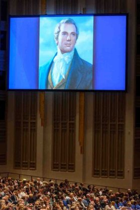 Trent Nelson | The Salt Lake Tribune A projection of Joseph Smith during the morning session of the 187th Annual General Conference at the Conference Center in Salt Lake City, Sunday April 2, 2017.