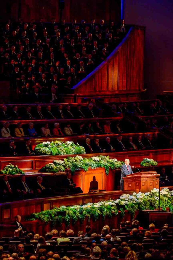 Trent Nelson   The Salt Lake Tribune Dallin H. Oaks speaks during the morning session of the 187th Annual General Conference at the Conference Center in Salt Lake City, Sunday April 2, 2017.
