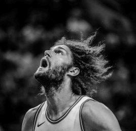 Chicago Bulls center Robin Lopez (42) looks for a rebound as the Utah Jazz host the Chicago Bulls, NBA basketball in Salt Lake City Wednesday November 22, 2017.