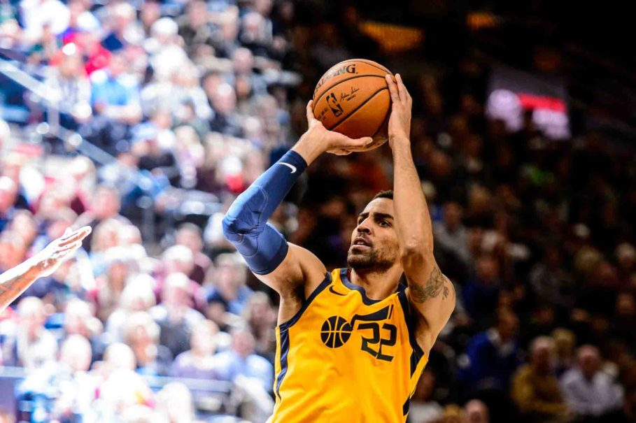 Utah Jazz forward Thabo Sefolosha (22) puts up a shot as the Utah Jazz host the Milwaukee Bucks, NBA basketball in Salt Lake City Saturday November 25, 2017.