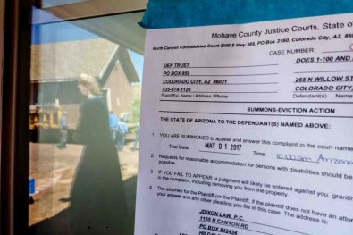 Trent Nelson | The Salt Lake Tribune An eviction notice from the UEP Trust on a Colorado City, Ariz., home where an FLDS family was living, Monday May 1, 2017.