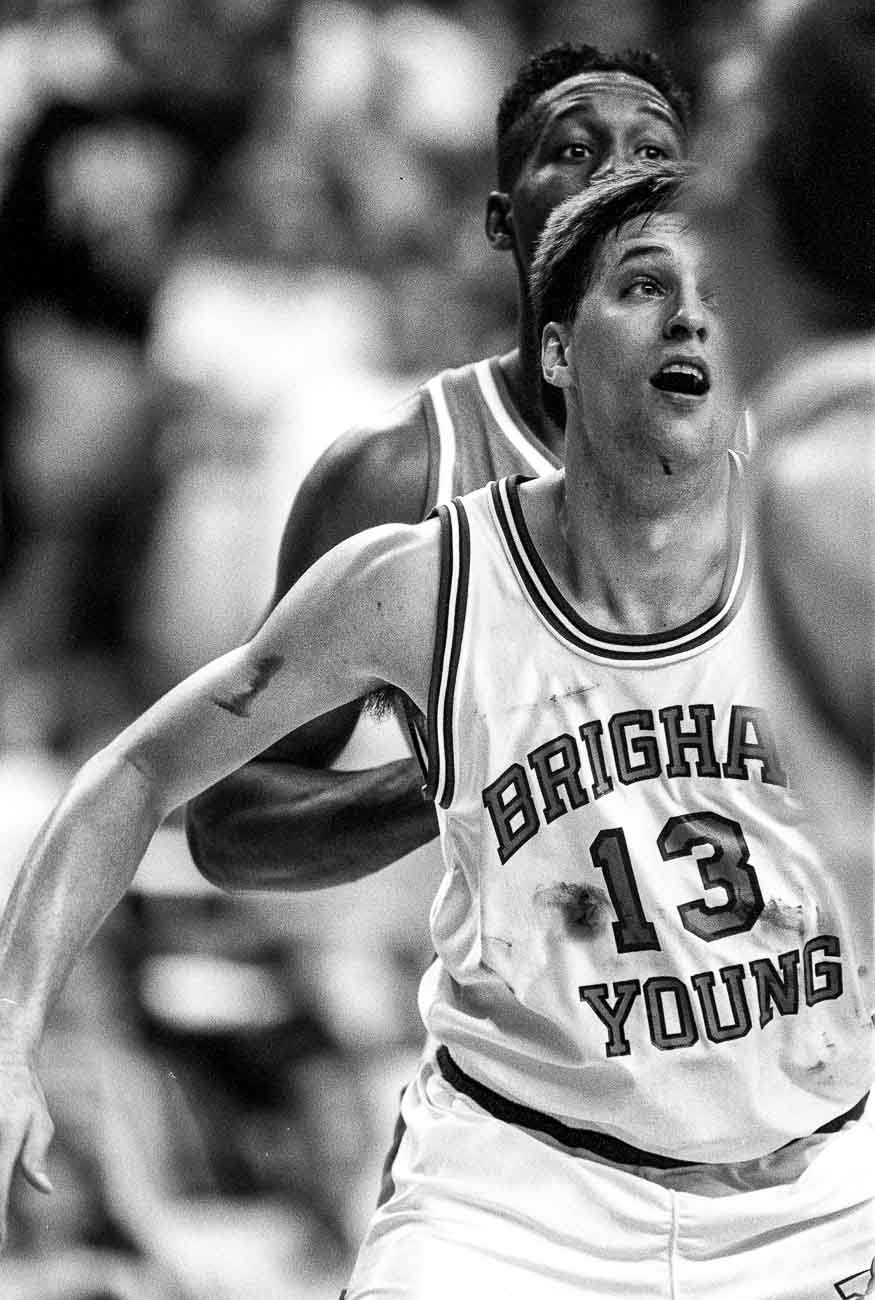 A bloody Andy Toolson at BYU vs. UTEP basketball.
